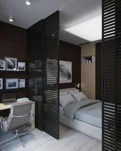 99 Casual Room Divider Ideas To Create Flexibility is part of Ikea room divider - For those who have a small home, or live in a studio apartment, one of the best and easiest methods […] Studio Apartment Decorating, Apartment Interior, Interior Design Living Room, Studio Apartment Divider, Bed Design, Interior Design Small Bedroom, Garage Studio Apartment, Studio Apartment Furniture, One Room Apartment