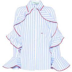 Off-White Striped Cotton Top