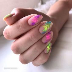 Nude Matte Nails With Neon Art No wonder that almond nails are t Ongles Roses Clairs, Matt Nails, Neon Nails, Nail Decorations, Almond Nails, Perfect Nails, Nail Polish Colors, Nail Trends, Stiletto Nails