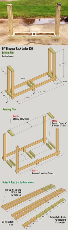Free Firewood Rack Plan - easy to build for under $30. Holds 3/4 rick of wood.