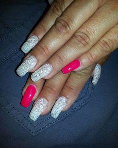 long silver glitter nail