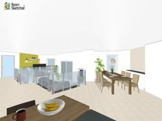 Our workplaces are different now... Could YOU work here?   Bananas, coffee & flowers - Visualize spaces realistically: http://planner.roomsketcher.com/?ctxt=rs_com  3D floor plan for public area leading to offices designed in RoomSketcher by Jessy 890