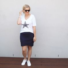 Style advice on the secret to dressing for your hourglass body shape. Discover the styles that look amazing on your hourglass shape and the styles to avoid by Australian life & style blogger Kirsten and co. Ruby and Lilli tee | Augustine by Kelly Coe skirt | Airflex Shoes sneakers