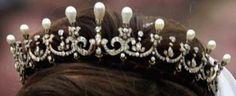 Queen Maud's Pearl & Diamond Tiara Version 2:  The tiara actually has two versions: the larger, full version and a smaller one created by removing the front center section and repositioning the three top pearls. The smaller form was worn by Princess Märtha Louise on her wedding day, and for the first time in 2010 by Crown Princess Mette-Marit for Crown Princess Victoria of Sweden's wedding.