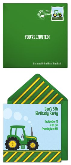 Free tractor invitation. We love this online invitation design for a tractor birthday! A great digital alternative to DIY paper options.