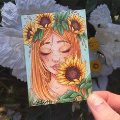 Drawing anime art fun New ideas Sunflower Drawing, Sunflower Art, Art Drawings Sketches, Cute Drawings, Drawings Of Girls, Marker Art, Beautiful Drawings, Copics, Cute Art