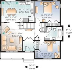 First Floor Plan of Bungalow Country Traditional House Plan 76182 Small House Floor Plans, Cottage Floor Plans, House Plans And More, Dream House Plans, Bungalow Homes, Cottage Homes, Drummond House Plans, Country Style House Plans, House Blueprints