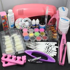 WindMax US Seller! 25 in 1 Combo Set Professional DIY UV Gel Nail Art Kit 9W Lamp Dryer Brush Buffer Tool Nail Tips Glue Acrylic Set #30 ry http://www.amazon.ca/dp/B00L4XOYPE/ref=cm_sw_r_pi_dp_nBm-ub0X8J6FF