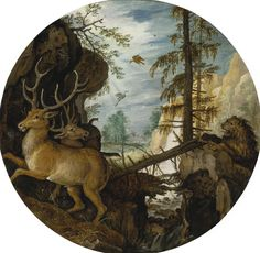 ROELANDT SAVERY KORTRIJK 1576 - 1639 UTRECHT A LION HUNTING TWO DEER, This painting is a late work by Savery, dated by Kurt J. Müllenmeister to circa 1620 By that date, Savery had returned to the Netherlands from Prague, where he had been in the service of Emperor Rudolph II from around 1603-1613. While there, the artist made numerous detailed studies of animals and birds in the menageries and hunting grounds of Rudolph and continued to use these as reference for later paintings.