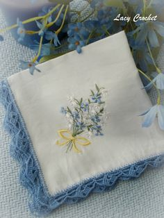 handkerchief with crochet lace