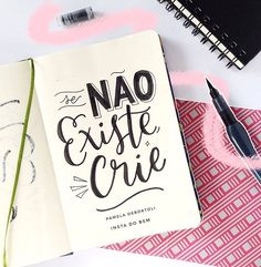 Portuguese quote: if it doesn't existe, create it. Calligraphy Letters, Typography Letters, Portuguese Quotes, Stabilo Boss, Lettering Tutorial, Brush Lettering, Brush Pen, Journal Pages, Wallpaper Quotes