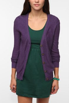 BDG Drop Stitch Classic Cardigan Online Only