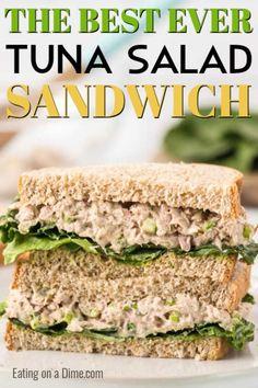 Healthy Tuna Sandwich, Tuna Sandwich Recipes, Tuna Recipes, Easy Salad Recipes, Vegetarian Recipes, Cooking Recipes, Healthy Recipes, Tuna Salad Sandwiches, Recipes