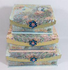 Punch Studio Peacock Keepsake Nested Storage Boxes Set of 3 Flip Top w/ Brooch | eBay