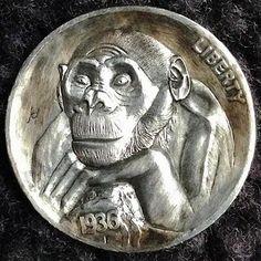 ALEX UZVIN HOBO NICKEL - PORTRAIT OF A DISTANT RELATIVE - 1936 BUFFALO NICKEL Hobo Nickel, Coin Art, Art Forms, Sculpture Art, Monkey, Cactus, Coins, Carving, Sew