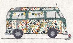Unframed print of original textile artwork Starry Camper. Size: A4 (210x297mm / 8.26x11.7inch)  The image is of a VW Camper van with bunting in the window. The starry fabric is a Liberty print. The original artwork was made by cutting pieces of fabric and stitching them together on a sewing machine with a special attachment that allows me to draw with the thread - free-motion machine embroidery.  The camper van print is excellent quality and shows the texture of the fabric and stitching so…
