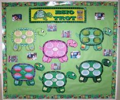 Here is an example of turtle shaped book report projects for the story Esio Trot by Roald Dahl.  These extra large turtle group project templates make an eye catching classroom bulletin board display.