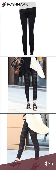 🔥Restocked🔥Mesh Panel Stretchy Ballerina Leg Mesh panels stretchy workout ballerina inspired gym yoga leggings. Polyester/nylon /spandex blend.  Hand wash cold. Imported.  Price is firm😝😜😎😍 Pants Leggings