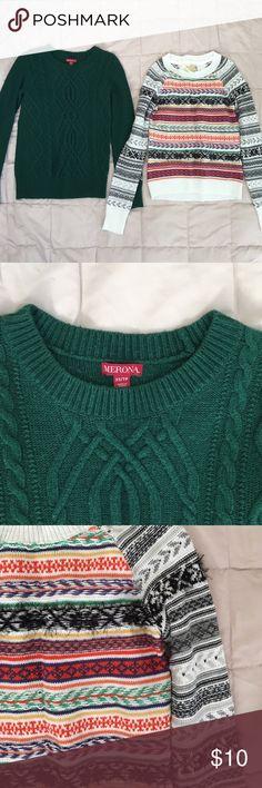 Sweatshirt Bundle Merona XSmall Green long sleeve and Princess Vera Wang S Christmas sweater. Great condition still. Merona Sweaters