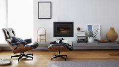 Eames® Lounge Chair and Ottoman Mid Century Modern Curtains, Mid Century Modern Lighting, Mid Century Modern Design, Mid Century Living Room, Mid Century Decor, Mid Century Furniture, Eiko Ojala, Miller Homes, Ottoman Design
