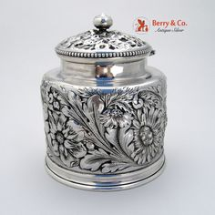 Repousse Chryanthemum Inkwell Gorham Sterling Silver Cut Glass 1890