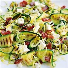 Warm salad of griddled courgettes, fennel, goat's cheese and bacon recipe. The courgettes and fennel make this salad fresh and light while bacon and goat's cheese mean this is hearty enough for a main meal.