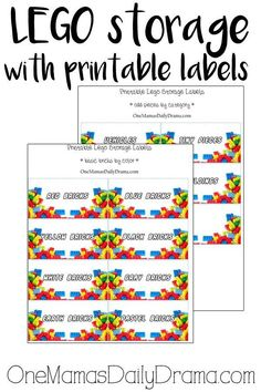 LEGO storage with printable labels | from One Mama's Daily Drama --- These are the best free LEGO printables for organizing bricks! Sort by color, category, or write your own labels on blank ones to keep complete sets together. This system has changed how