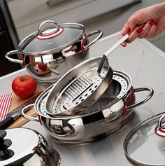 Hisar - SATURN (Cooking Set for Healthy Life)_ *Easy cleaning *Antibacterial *Antiallergic -Energy and time saving *Silicon handles that prevent hand burn *Glass lid