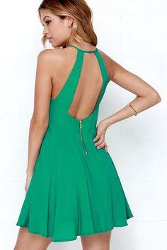 Bright Green Dress - Skater Dress - $46.00