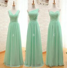 Mint Green Long Chiffon Bridesmaid Dress A Line Pleated Beach Bridesmaid Dresses Maid Of Honor Wedding Guest Gowns sold by cutebridal. Shop more products from cutebridal on Storenvy, the home of independent small businesses all over the world. Bridesmaid Dresses Under 50, Mint Green Bridesmaid Dresses, Blue Bridesmaids, Prom Dresses, Dress Prom, Mint Dress, Wedding Bridesmaids, Chiffon Dresses, Evening Dresses