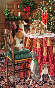 """Italian Greyhound Christmas cards are 8 1/2"""" x 5 1/2"""" and come in packages of 12 cards. One design per package. All designs include envelopes, your personal message, and choice of greeting. Select the greeting of your choice from the drop-down menu above. Add your personal message to the Comments box during checkout."""