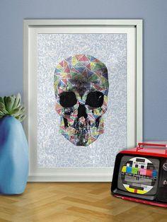 Geometric Pattern Print Skull Poster Paisley by pikselmatic