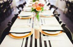 Black white gold table decor wedding