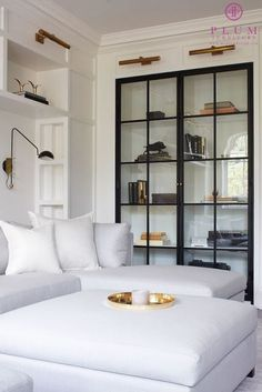 glass door built ins with white sofa in living room