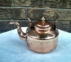 Antique Late 19th Century Arabic Hand-Hammered Copper Campfire Tea Kettle by AnchorLineVintage on Etsy