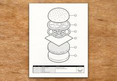 This isometric illustration, inspired by engineering drawings, indicates the appropriate way to assemble a burger.