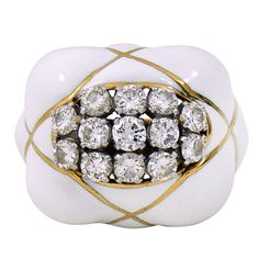 David Webb White Enamel Diamond Ring | From a unique collection of vintage fashion rings at http://www.1stdibs.com/jewelry/rings/fashion-rings/