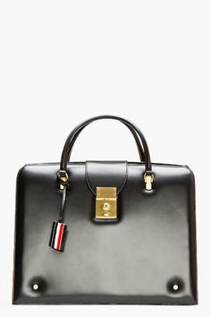 Givted-black leather large doctor's tote