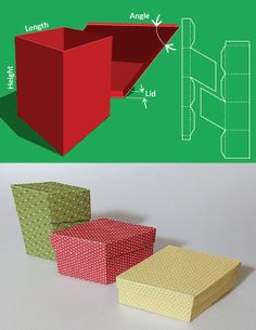 Free and custom sized template for a Rhombus shaped box with lid
