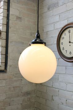 Opal Glass Ball Light. 25cm or 30cm with braided cord - Fat Shack Vintage - Fat Shack Vintage