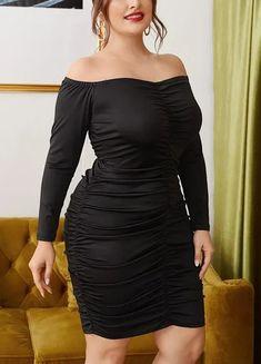 Plus Size Off Shoulder Ruched Bodycon Club Dress. Black Off The Shoulder Fitted Party Dress Plus Size Women's #PlusSizeFashion #PlusSizeStyle #CurvyGirl #plussizedivas #boldcurvyfashionista #curvy #curvyfashionista #Fashion #Style