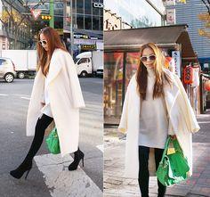 MJ KIM - Carven Oversized Coat, Linda Farrow Sunglasses, Zanellato Postina, Zara Black Pants - White Coat