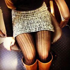 tweed skirt, herringbone tights