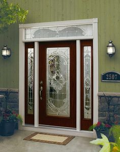 Decorative glass door inserts for single door with sidelights Home Door Design, House Gate Design, Wooden Door Design, Main Door Design, Front Door Design, Frosted Glass Door, Stained Glass Door, Glass Front Door, Glass Door Curtains