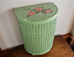 Green Metal and Wicker Laundry Bin with Hand Painted Coral Red White Roses, Small Pearl-Wick Laundry Hamper Storage Container Painted Wicker, Painted Furniture, Hand Painted, Cane Furniture, Laundry Bin, Laundry Hamper, Laundry Room, Wicker Hamper, Red And White Roses