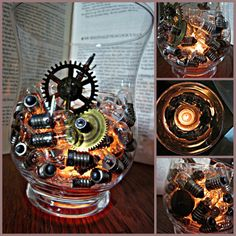 Simply Steampunk Candle Holder- center pieces