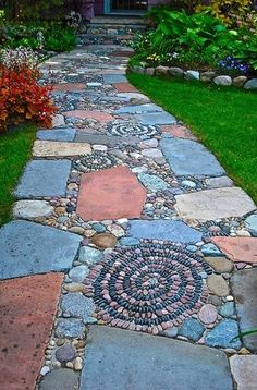 Best 125 Simple Rock Walkway Ideas For Your Garden . - Best 125 simple rock walkway ideas for your garden - Rock Walkway, Mosaic Walkway, Walkway Ideas, Pebble Mosaic, Rock Mosaic, Stone Walkway, Walkway Designs, Flagstone Pathway, Mosaic Wall