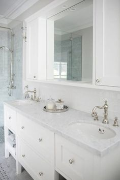 Always a joy to revisit this gorgeous bathroom! Such classic features can give any bathroom that timeless elegance everyone strives for in… Bathroom Trends, Bathroom Renovations, Bathroom Interior, Bathroom Ideas, Bathroom Gallery, Bathroom Vanities, Marble Benchtop, Marble Tiles, Clever Bathroom Storage