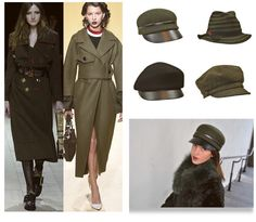 A growing trend this season and the must-have 'military' look are peaked caps, and we have them in green and black felts, military stripes and rich Linton tweeds