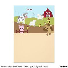 """Acres animales del campo de fiesta de bienvenida invitación 5"""" x 7"""""""